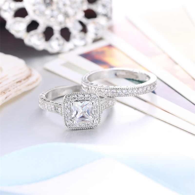 YHAMNI 100% 925 แหวนเงินสีขาว CZ แหวนชุดวินเทจแต่งงานวง Promise แหวนหมั้นของขวัญเครื่องประดับสำหรับผู้หญิง KR293