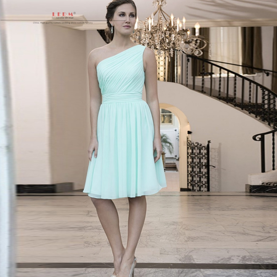Bruidsmeisjes jurk 2017 new chiffon one shoulder a line mint green ...