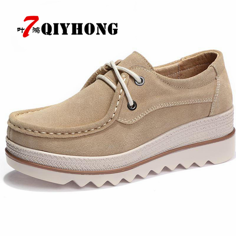 QIYHONG 2018 Autumn Women Flats Thick Soled   Leather     Suede   Platform Sneakers Shoes Female Casual Shoes Lace Up Flats Creepers