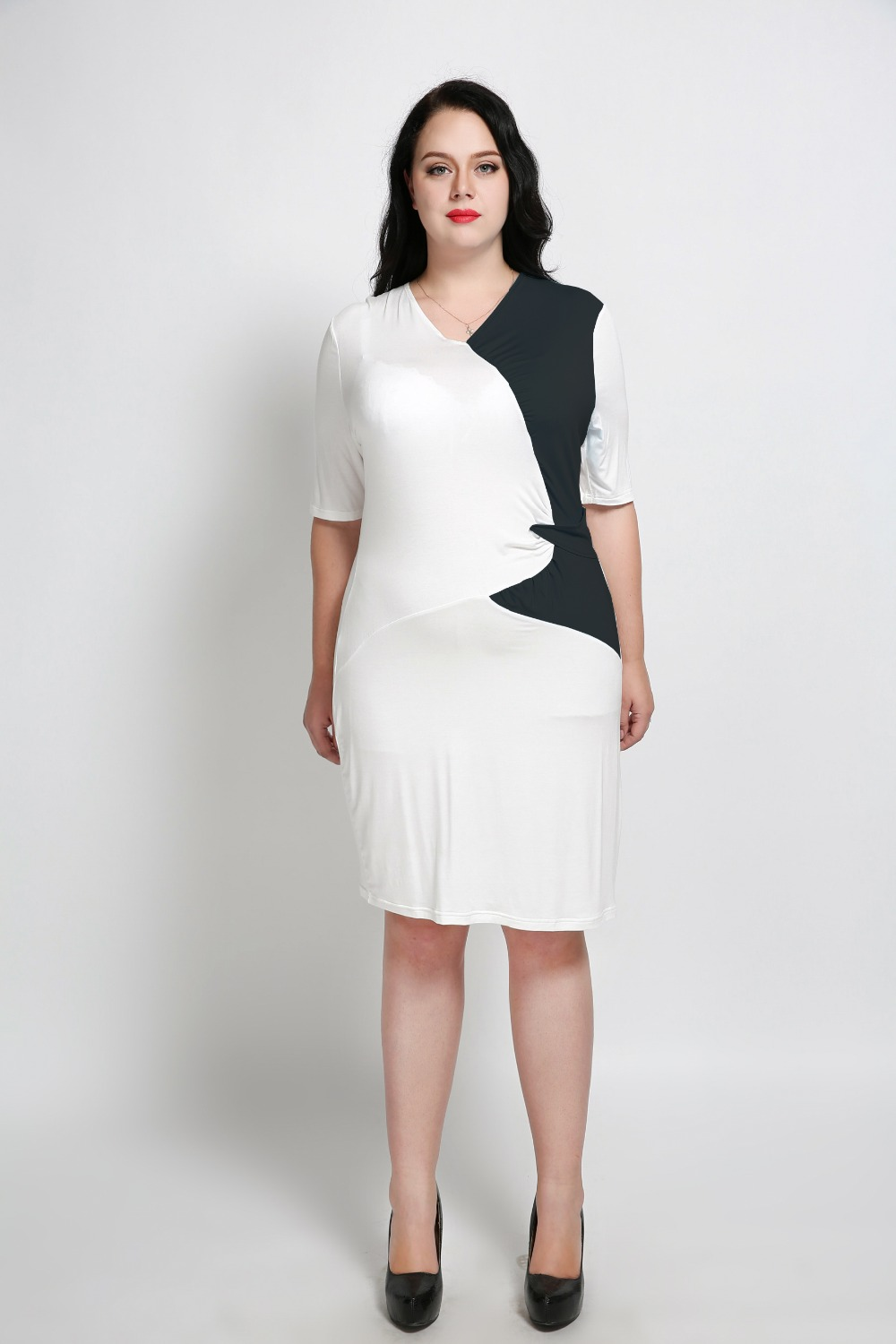 Womens Sexy V Neck Plus Size Cocktail Party Dress Black And White