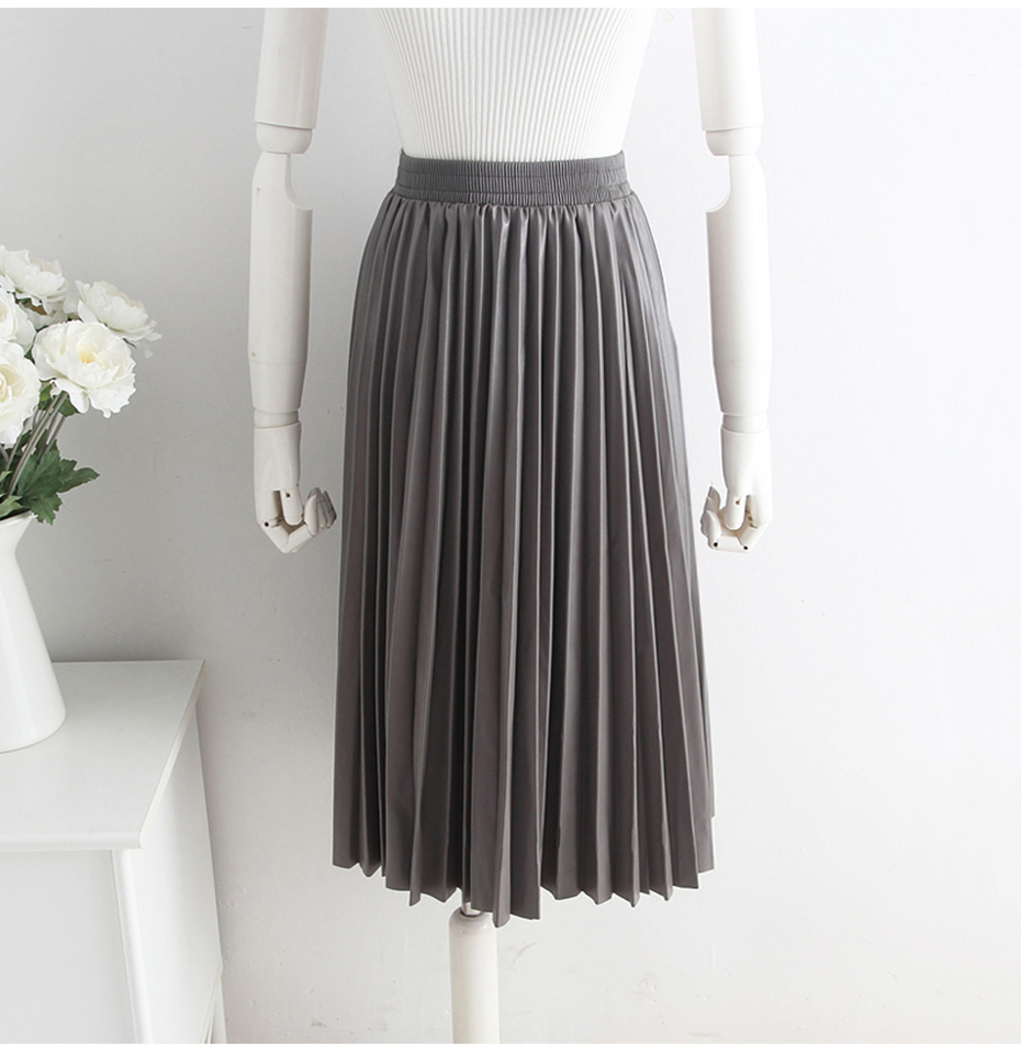 2018 11 11 PU Accordion Pleated Skirt Autumn & Winter New Style Leather Skirt High Waist Faldas Largas Elegantes Free Shipping 20
