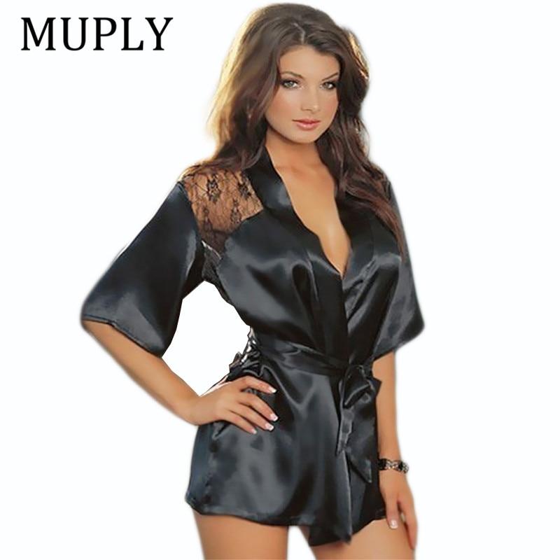 MUPLY New Hot Sexy Lingerie Plus Size Satin Lace Black Kimono Intimate Sleepwear Robe Sexy Night Gown Women Erotic Underwear