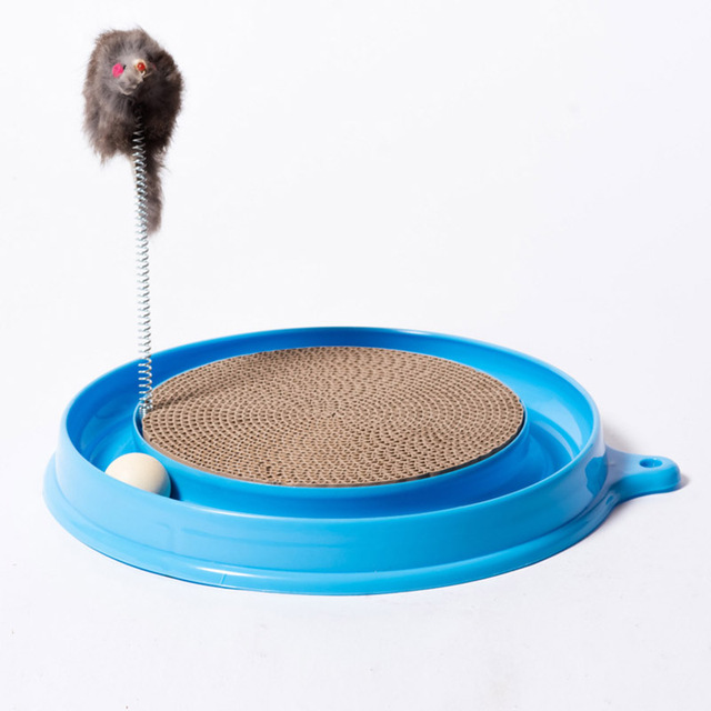 Cat Kitten Turbo Scratcher Graffi Pad Bordo Giocattolo Con Il Mouse A Sfera Form