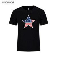 2017 Été USA Drapeau Hommes T Shirts En Coton À Manches Courtes Tops Étoiles Rayures États-unis Drapeau Style Imprimé T-shirts Pour hommes
