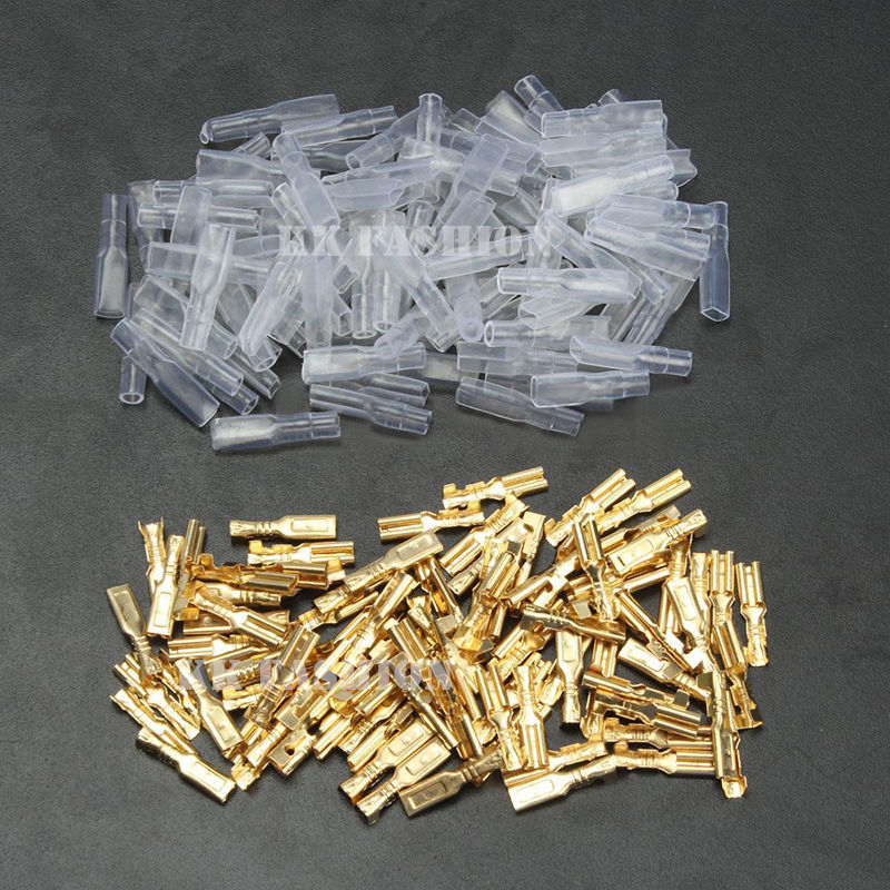 200pcs AWG 22-16 Gold Clear 2.8mm Female Spade Connectors & Insulating Sleeves 100pairs Crimp Terminals 0.5mm2-1.5mm2 сумка kate spade new york wkru2816 kate spade hanna