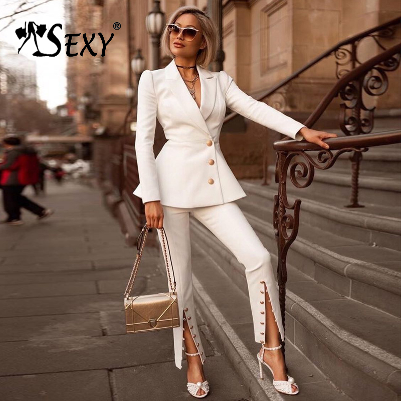 Gosexy 2018 New Women White Two Piece Sets Office Lady V-Neck Sexy Set Single Breasted Long Sleeve Full Length Pants Fashion