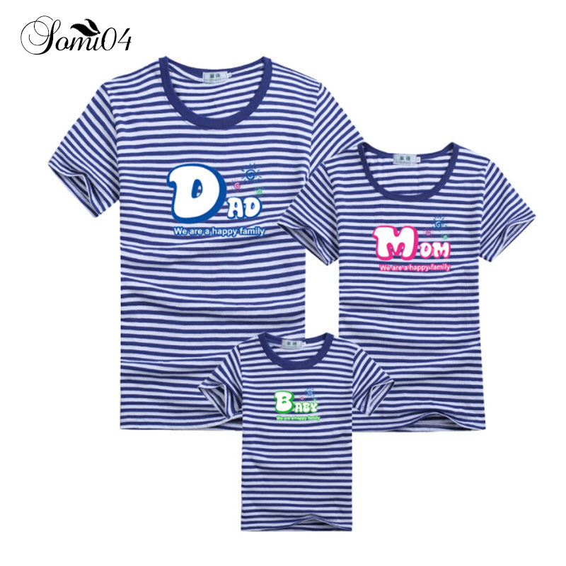 Family Short Sleeve Breton Top T-shirt Dad Mom Baby Summer 2018 Matching Outfits Father Mother Daughter Son Kids Striped Clothes 2017 hot sale family matching outfits t shirt mom dad boys and girls camouflage cotton100% short sleeve t shirt