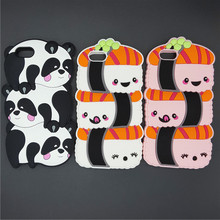 Kawaii 3D Cartoon Japan Sushi Rice Balls Pandas Case Soft Silicon Cover For iPhone SE 5 5S 5C 6 6S 7 7S & Plus Rubber shell