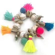Новые богемные морские пляжные браслеты из раковин цветной хлопковый