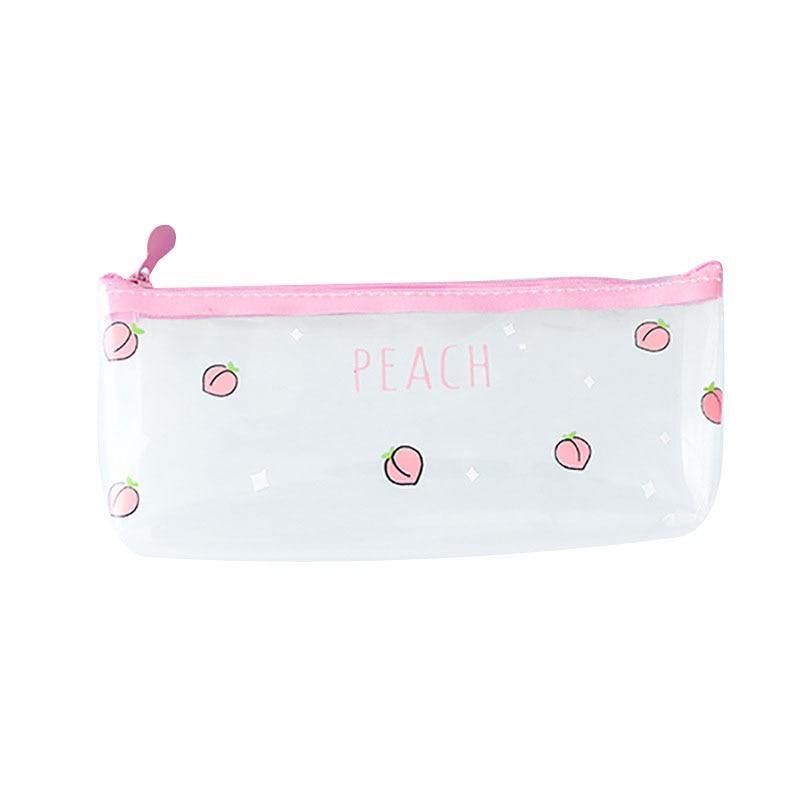 1Pc Kawaii Creative Peach Milk Transparent Pvc Pencil Case Stationery Storage Bag School Supplies Gift