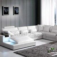 LED Light Leather Sofa Villa Large Size Simple Leather Sofa Living Room Modern U type Combination Corner Sofa 1PC