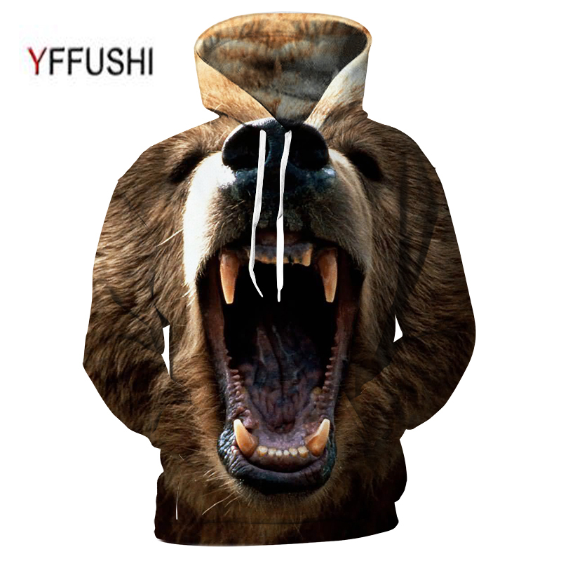 YFFUSHI 2018 3D Men Women Hooded Pullover Fashion Roaring animal 3d Sweatshirts Casual Pocket Outwear Novelty Coat Plus Size 5XL