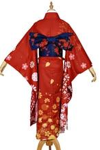 Anime collection Yudachi cosplay costume Halloween flame Kimono dress cloth  red cdcaac72f
