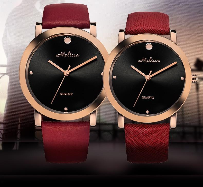 MELISSA Simple Fashion Neutral Watches Lovers Leather Wrist watch England Wind Men Women Dress Relogios 3ATM Montre Femme F12176