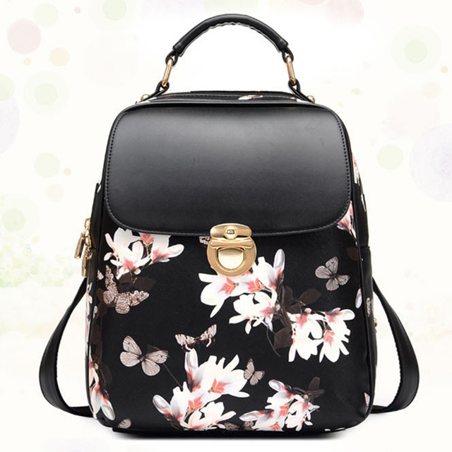 8a0a8c9c2370 2017 Fashion Butterfly Flower Backpacks Women s Small Leather Backpack Girl  Schoolbag Ladies Travel Mini Backpacks Bag Chinese