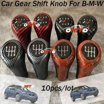 10pcs/lot Carbon /Wood Car Gear Shift Knob 5/6 Speed for bmw F10 F20 E38 E91 E53 E90 E60 E36 F30 With M badge Auto Gear Shift