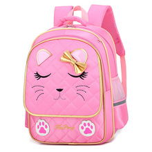 Children School Bags for Girls cat printing backpacks Kids c
