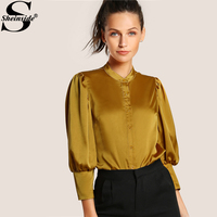 Sheinside Ipek Bluz Puff Kol Slim Fit Bluz Sarı Gömlek Kadın Uzun Kollu Zarif Bluz 2017 Bayanlar İş Giyim Bluz
