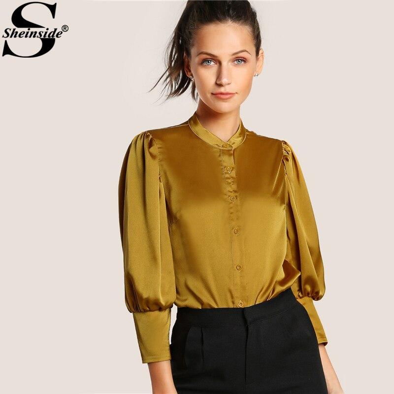 Sheinside silk blouse puff sleeve slim fit blouse yellow for Womens yellow long sleeve shirt