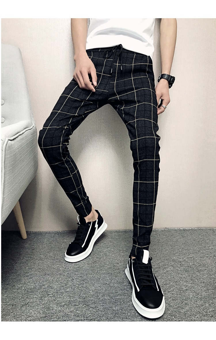 New Pants Men Slim Fit British Plaid Mens Pants Fashion High Quality 2020 Summer Casual Young Man Hip Hop Trousers Male Hot Sale 16