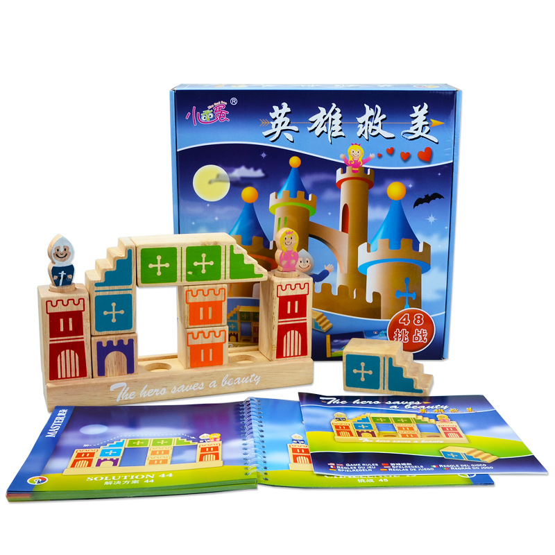 Wood IQ coaching Toys Blocks 48 problem and resolution Instructional Smooth Montessori youngsters clever artistic interactive