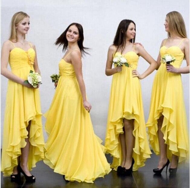 spaghetti alto-bajo vestidos de dama de gasa acanalada flores hechas a mano bac