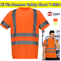 Oi vis reflexiva da segurança T-shirt de Verão de manga curta T-shirt camisa com listras refletivas de segurança do trabalho