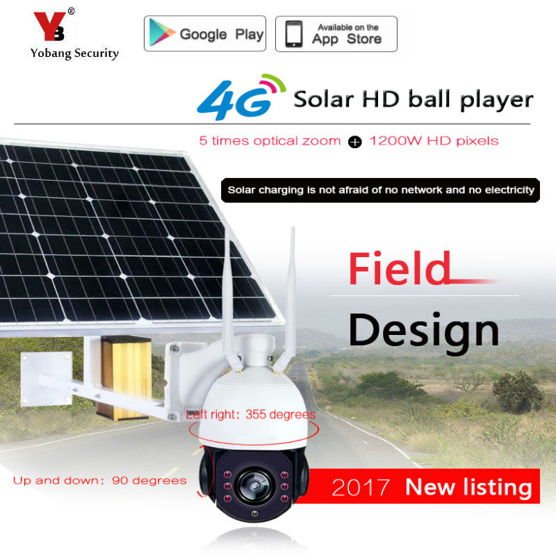 Yobang Security 1080P 5x Optical Zoom Solar Power Battery Surveillance CCTV Camera WIFI Outdoor Waterproof IP Camera 4G SIM Card цена