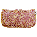 LaiSC Luxury Crystal Clutch Pink Evening Bag Diamante Handmade Party Girl Clutch Bag Prom Day Clutches Party Purse handbag SC227