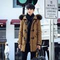 2016 New Long Casual Thick Warm Parka Hiver Homme Fur Collar Big Horns Buttons Hommes Manteau Capuche Chaud
