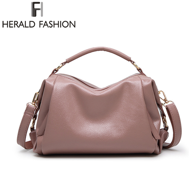 1891a18c58 Herald Fashion 2018 High Quality PU Leather Women Handbags Brand Casual  Shoulder Bags Female Solid Tote Bag Lady Crossbody Bags
