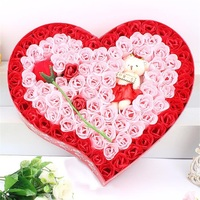 100Pcs/Box Romantic Rose Soap Flower With Plush Animal toys Teddt Bear Doll, Great For Valentine's Day Gifts/ Wedding Gift