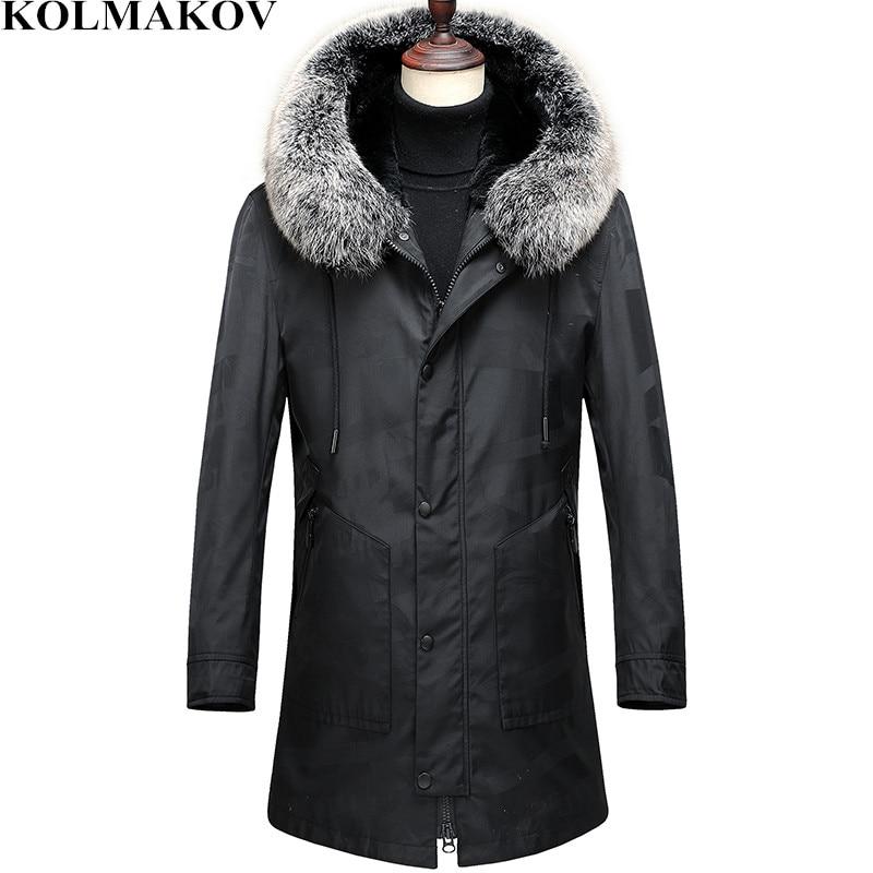 KOLMAKOV Winter   Down     Coats   Mens Fur Hooded Parka Man Jackets Dress Detachable Fluff Liner Overcoat Parkas M-3XL Warm Outwear Men