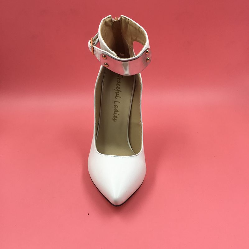 Blanco Tamaño Punta De Delgada 34 Mujeres Mujer Zapatos Correa Bombas Altos Gran Suave Estilo Tobillo Las Primavera Los Cuero Tacones RqrSR7w