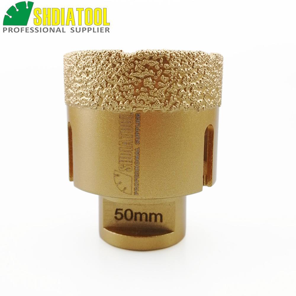 SHDIATOOL Dia 50mm M14 Brocas de núcleo de diamante soldadas al vacío Brocas de perforación de cerámica profesionales Sierra de agujero de piedra Broca de diamante