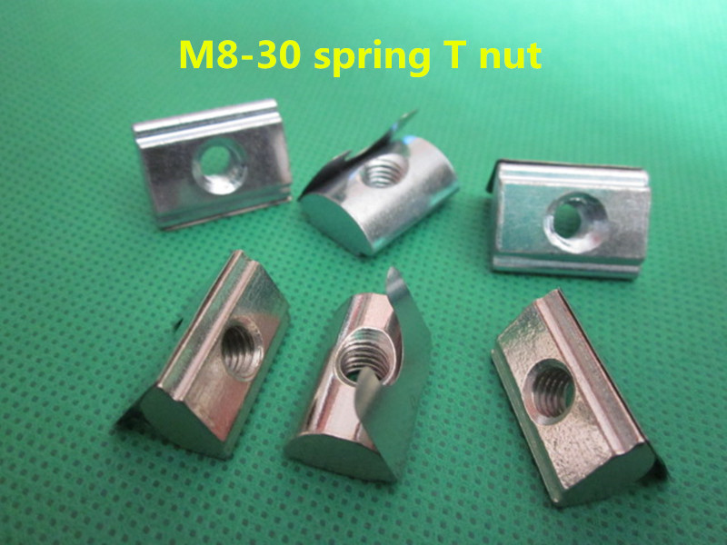 50pcs m8 - 3030 series european standard steel with nickel roll - in t nut spring nut with elastic leaf for aluminium profile