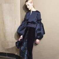 HIGH QUALITY Winter Fashion 2018 Designer Runway Suit Set Women's Lantern Sleeve Tops Velvet Skirt Set