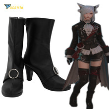 цена на Final Fantasy XIV FF14 Black Mage Cosplay Boots Black Shoes Custom Made
