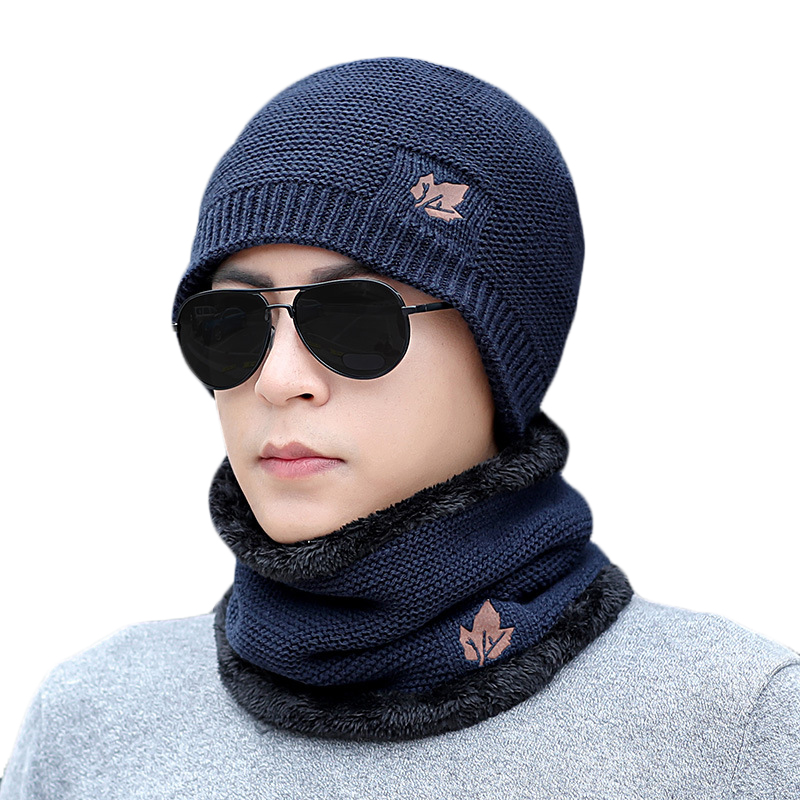 Winter Knitting Hat Scarf Sets Men Women Solid Color Warm Cap Scarves Male Winter Outdoor Accessories Plush Hats Scarf 2 Pieces