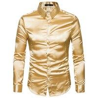 Smooth Silk Satin Shirt Men Slim Fit Long Sleeve Shiny Gold Silver Dress Shirts Mens Wedding Club Party Prom Male Tuxedo Shirt