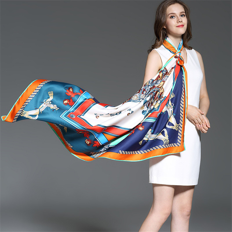 100% Twill Sutra Wanita Syal Merek Mewah Eropa Foulard Perancis Kuda - Aksesori pakaian - Foto 2