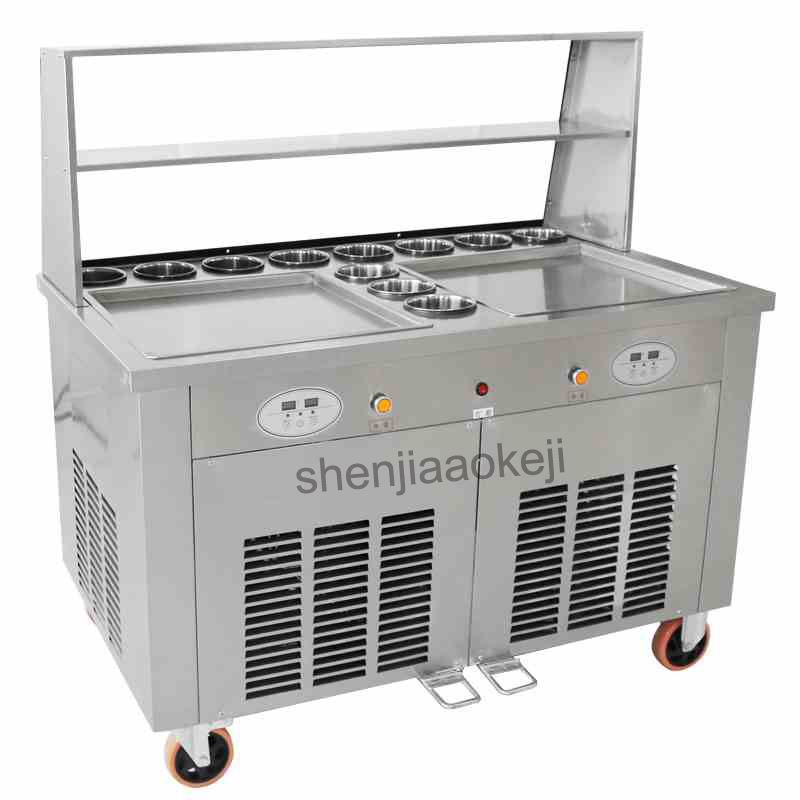 лучшая цена Fried Ice Cream Machine Making Roll Ice Cream Ice Frying Machine Commercial Fried yogurt machine Double Pots 220v 2800w 1pc