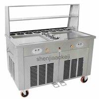 Fried Ice Cream Machine Making Roll Ice Cream Ice Frying Machine Commercial Fried yogurt machine Double Pots 220v 2800w 1pc