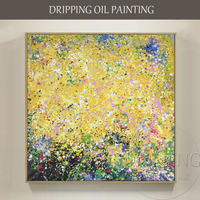 Skilled Artist Pure Hand painted High Quality Abstract Oil Painting for Wall Decor Rich Colors Abstract Yellow Oil Painting