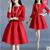 2016 nueva otoño invierno dress mujeres vestidos de fiesta más el tamaño de las mujeres rojo negro vestido de fiesta dress delgado de cintura alta dress