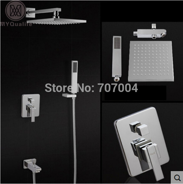 Concealed Install Shower Faucet  Mixer Tap System Wall Mount Bath Shower with Handshower Chrome Finish wall mount single handle bath shower faucet with handshower antique brass bathroom shower mixer tap
