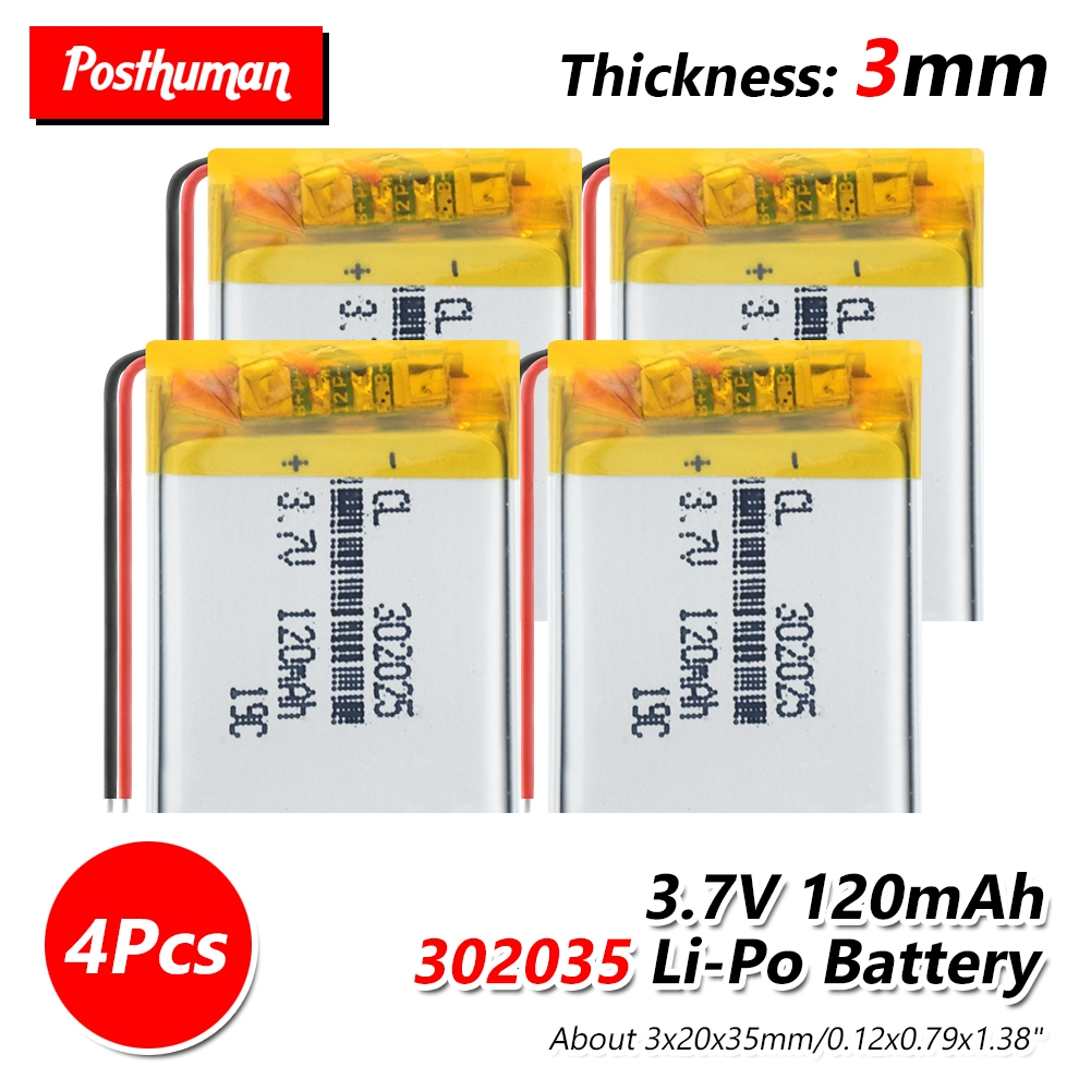 <font><b>302025</b></font> rechargeable battery 3.7V 120MA lithium battery for watching voice recorder bt headset watch led light smart band GPS image