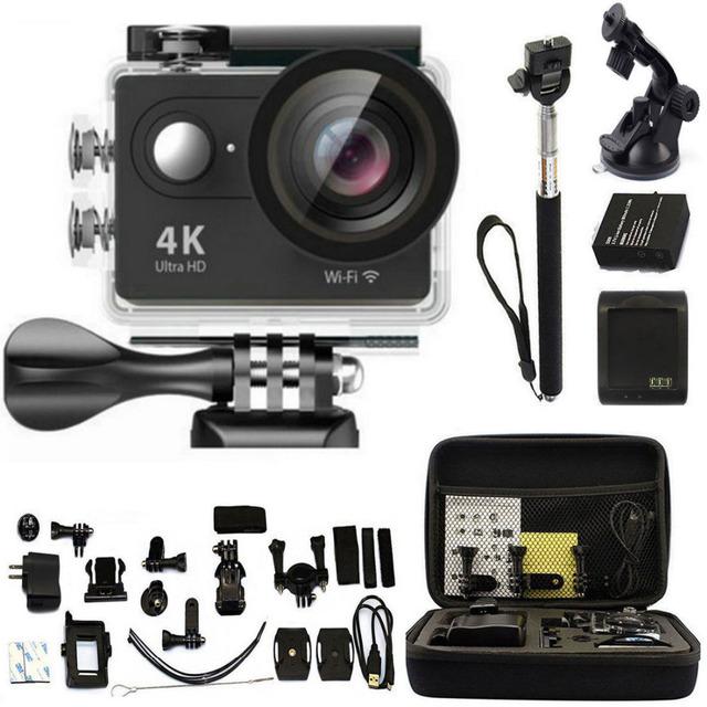 H9 ir Câmera de Ação Ultra HD 4 K WiFi 1080 P Esporte Go 2.0 LCD À Prova D' Água pro Camera + Carry saco Monopé