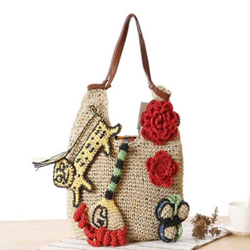 Summer Women Rattan Tiger Straw Bags Tote Large Ladies Beach Handbag Wicker Travel Flower Crochet Shopping Bag Bolso Paja W3