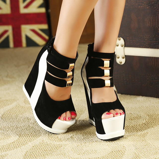 1eebe4537f8 Ultra high heels wedges female fashion block decoration platform sandals  brand women thick sole red open toe boots women shoes
